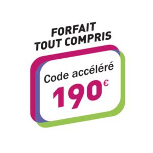 Forfait tous compris Code accéléré 190€ Paris