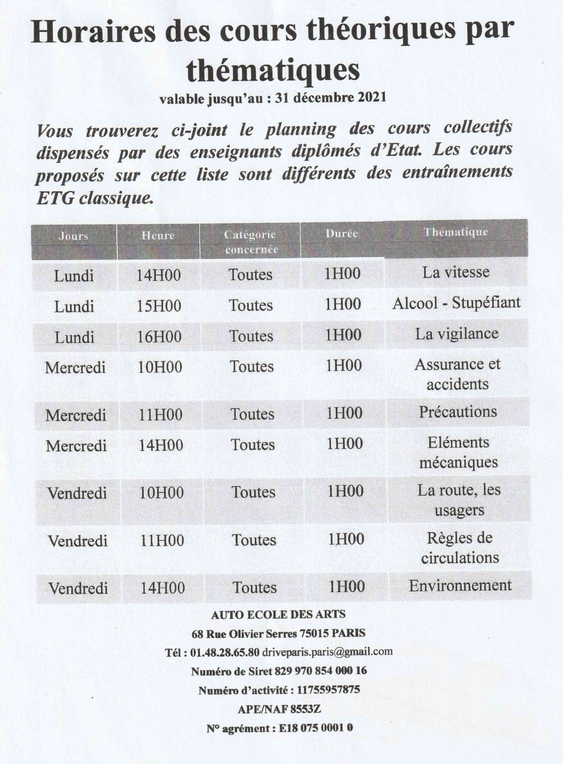 horaire cours code
